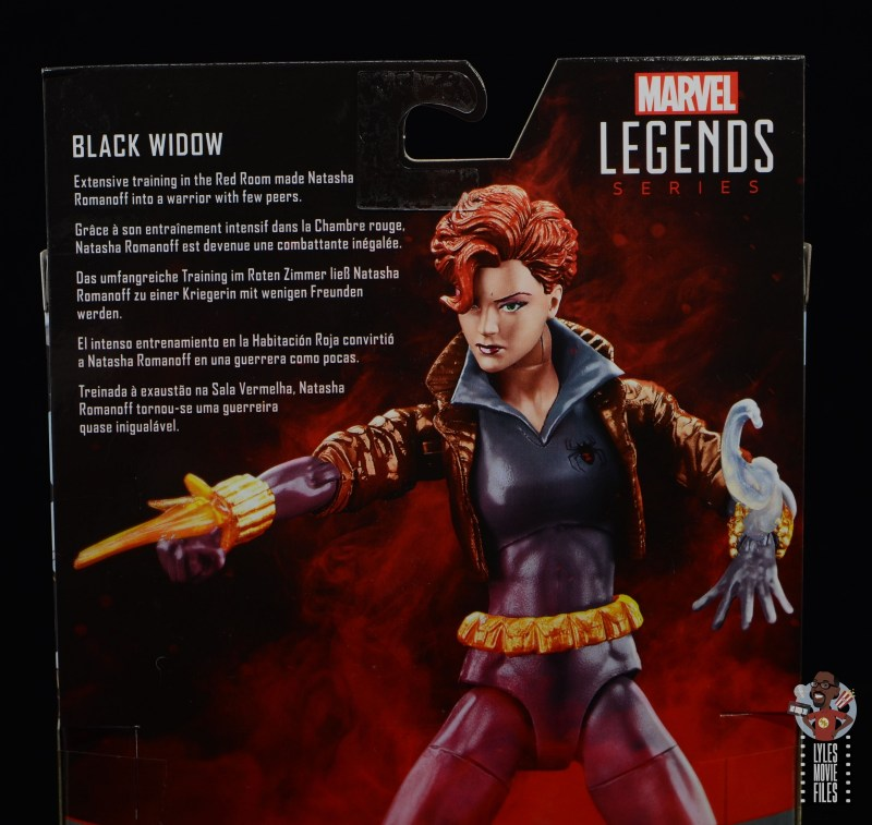 marvel legends black widow wal-mart exclusive figure review - package bio