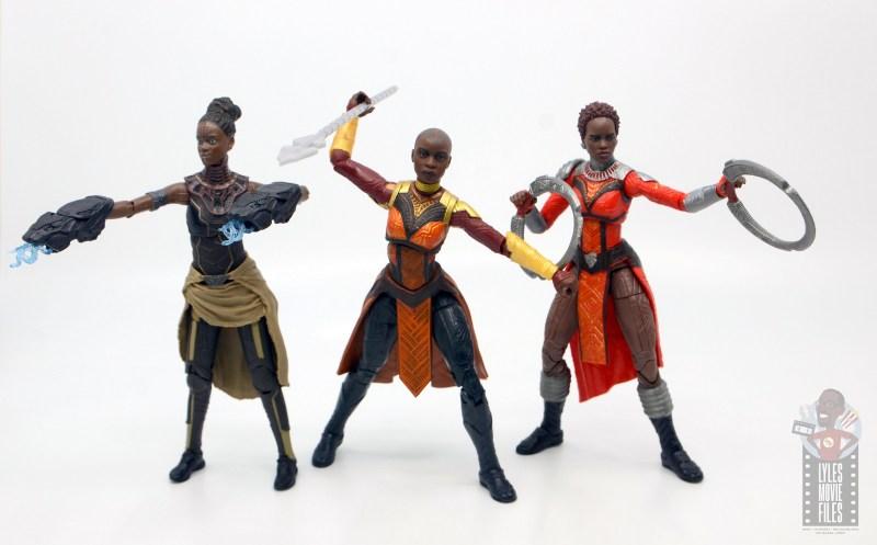 marvel legends build a figure okoye figure review - with shuri and nakia