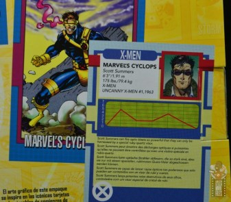marvel legends cyclops, jean grey and wolverine set review - cyclops trading card