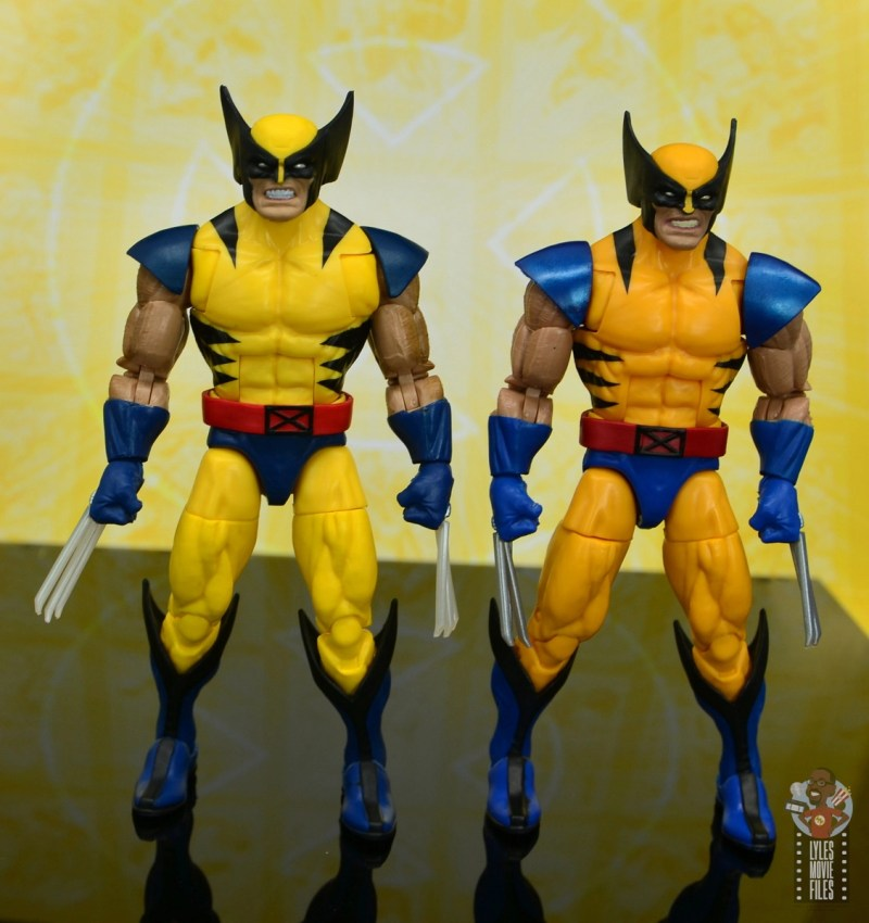 marvel legends cyclops, jean grey and wolverine set review - wolverine with early tiger stripe wolverine