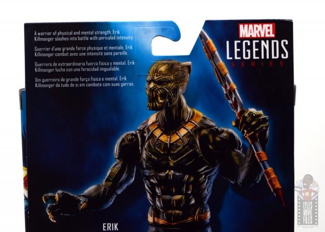 marvel legends erik killmonger figure review - package bio