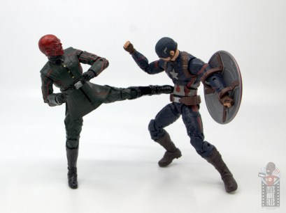 marvel legends marvel studios 10 years red skull figure review - kicking captain america