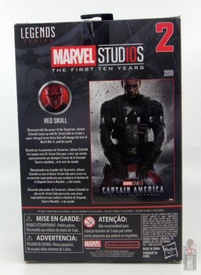 marvel legends marvel studios 10 years red skull figure review - package rear