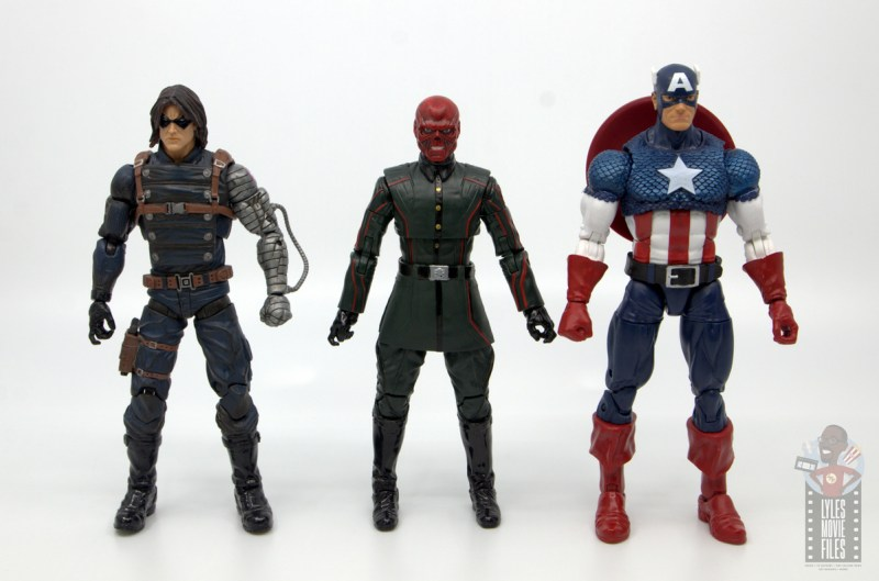 marvel legends marvel studios 10 years red skull figure review - scale with winter soldier and captain america