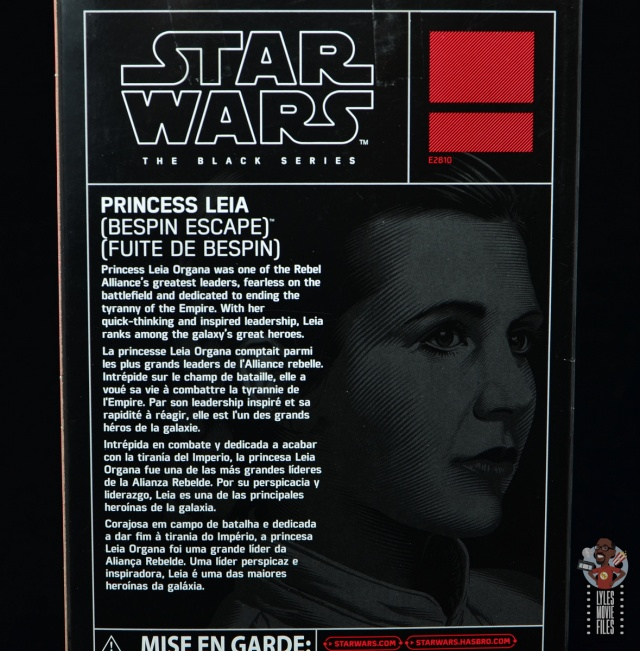 star wars the black series princess leia bespin escape figure review - package bio