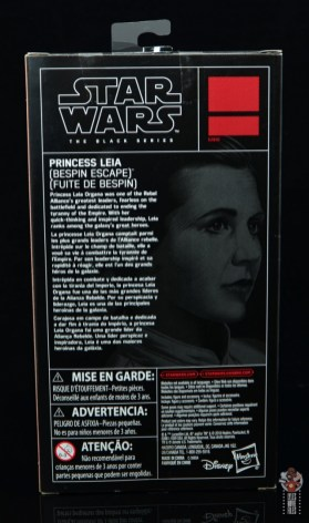 star wars the black series princess leia bespin escape figure review - package rear