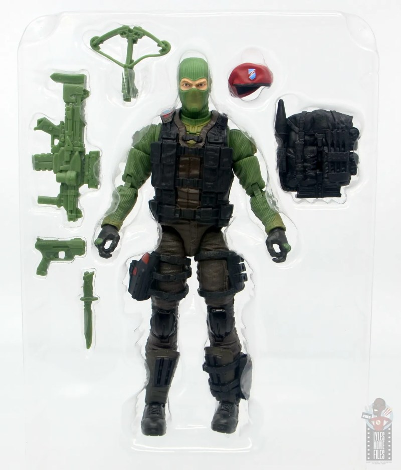GI Joe Classified Series Beach Head figure review - accessories in tray