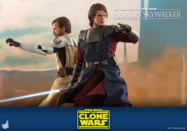 hot toys anakin skywalker clone wars figure - in battle with obi-wan