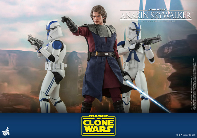 hot toys anakin skywalker clone wars figure - with 501st clone troopers