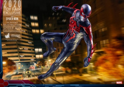 hot toys spider-man 2099 figure - on the move
