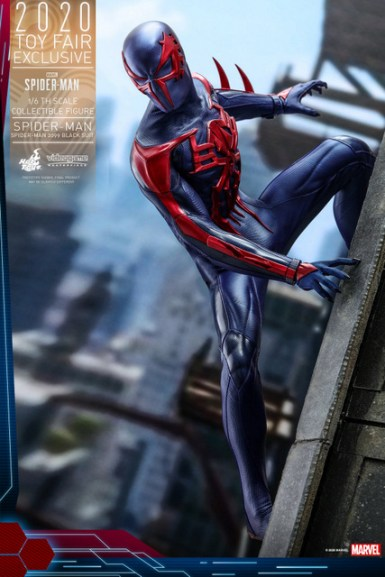hot toys spider-man 2099 figure - wall crawling