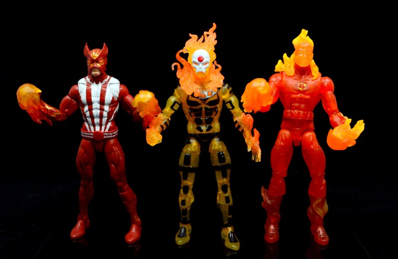 marvel legends age of apocalypse sunfire figure review - with original sunfire and human torch