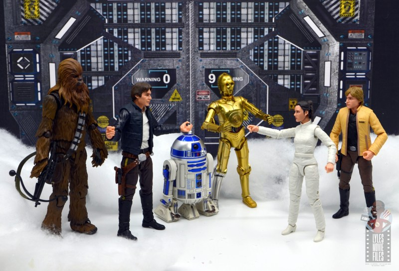 star wars the black series han solo figure review -chewbacca, r2d2, c3p0, leia and luke skywalker