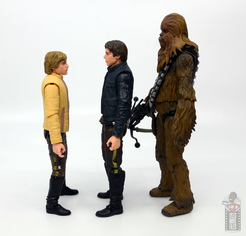 star wars the black series han solo figure review - facing luke skywalker and chewbacca