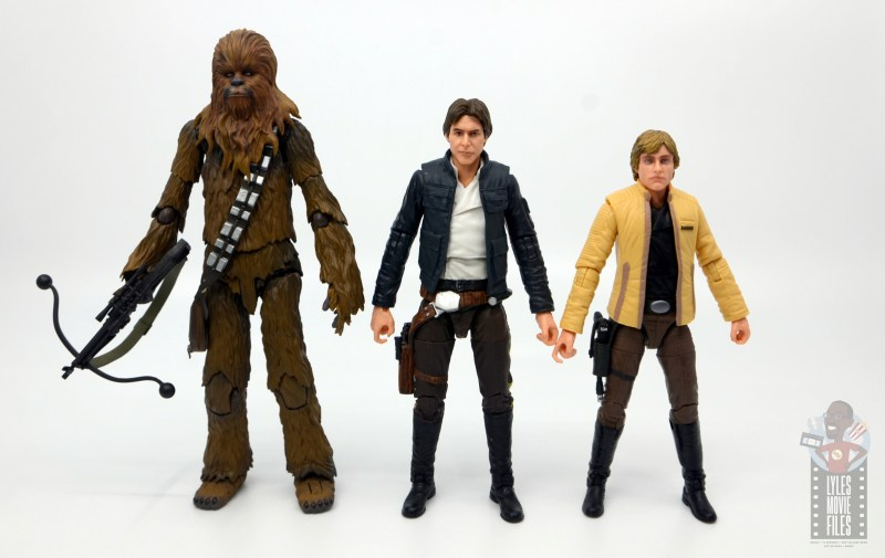 star wars the black series han solo figure review -scale with figuarts chewbacca and yavin luke skywalker