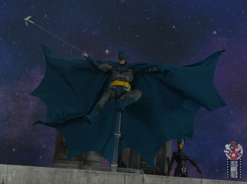 mafex hush batman figure review -flying off rooftop