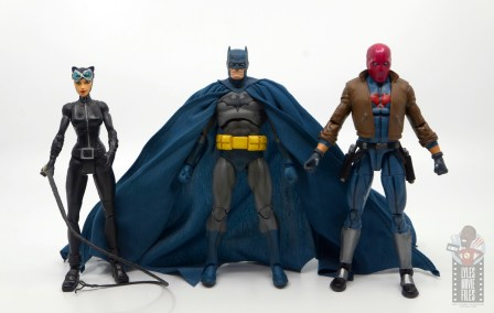 mafex hush batman figure review - scale with dc classics catwoman and dc multiverse red hood