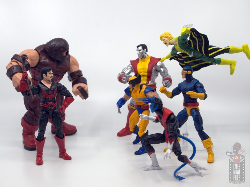marvel legends black tom cassidy figure review - face off with the x-men with juggernaut