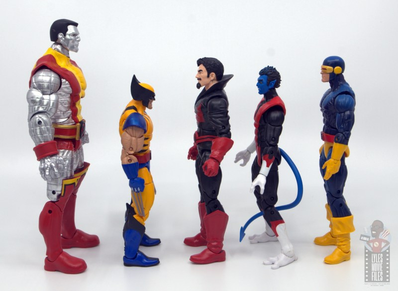 marvel legends black tom cassidy figure review - facing colossus, wolverine, nightcrawler and cyclops