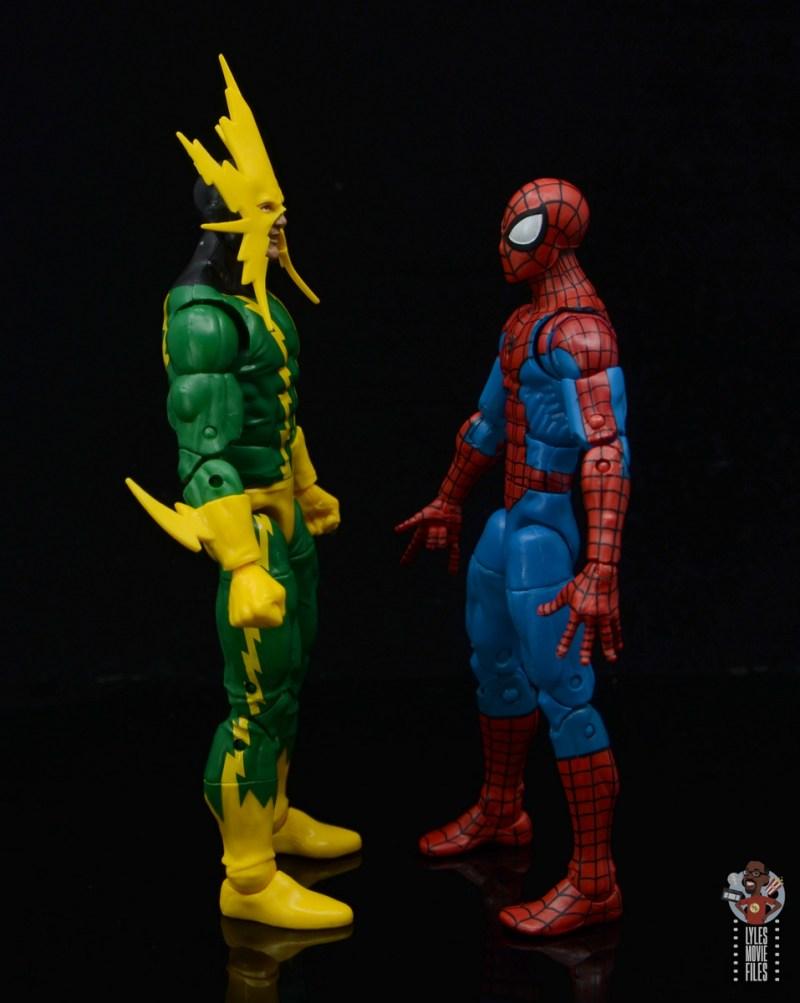 marvel legends electro figure review -facing spider-man