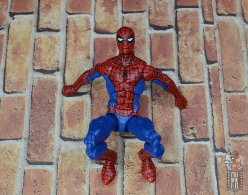 marvel legends retro spider-man figure review - on the wall