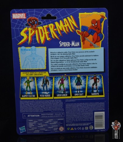 marvel legends retro spider-man figure review - package rear