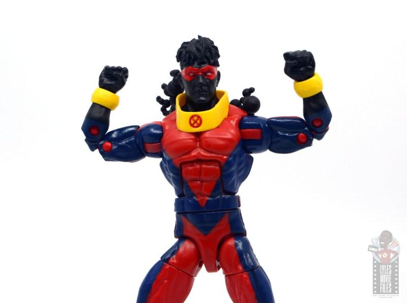 marvel legends sunspot figure review - arms up pin colors