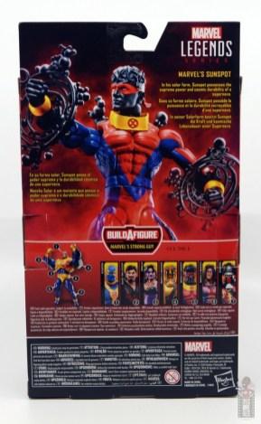 marvel legends sunspot figure review - package rear