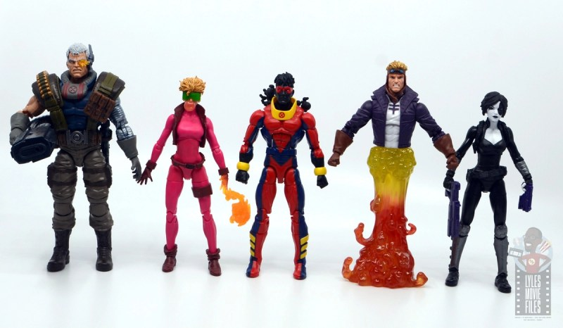 marvel legends sunspot figure review - scale with cable, boom boom, cannonball and domino