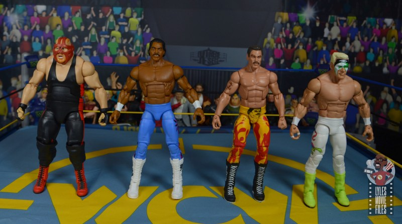 wwe elite hall of champions ron simmons figure review - scale with vader, rick rude and sting