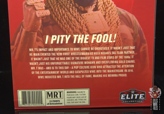 wwe sdcc elite mr. t figure review -package bio