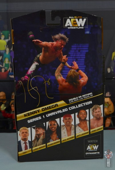 aew unrivaled kenny omega figure review - package rear