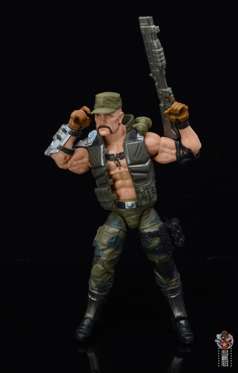 g.i. joe classified series gung-ho figure review -grabbing hat and raising shotgun