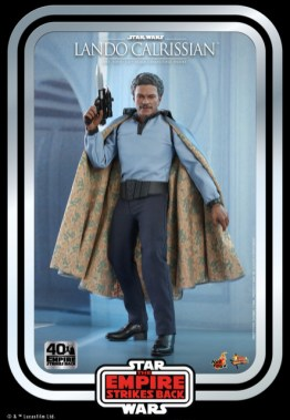 hot toys empire strikes back lando calrissian figure - raising blaster