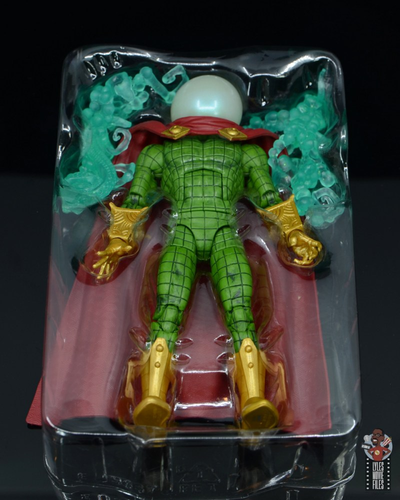 marvel legends retro mysterio figure review - accessories in tray
