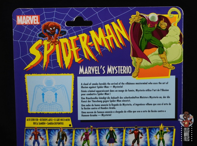 marvel legends retro mysterio figure review - package bio