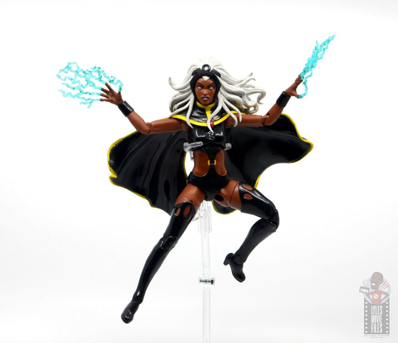 marvel legends storm and thunderbird figure review -storm flying with lightning hands