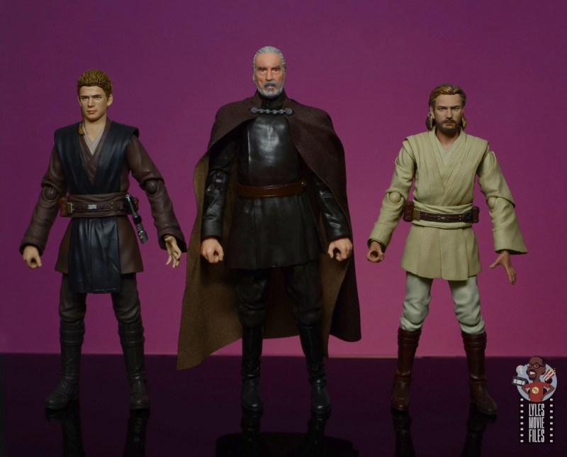 star wars the black series count dooku figure review - scale with sh figuarts anakin skywalker and obi-wan kenobi