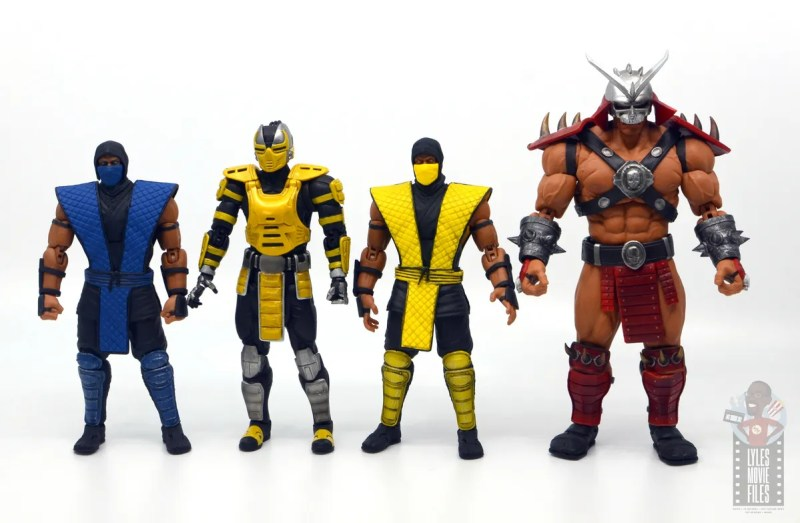 storm collectibles mortal kombat cyrax figure review - scale with sub-zero, scorpion and shao khan