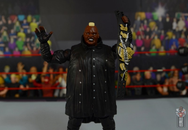 wwe elite series 77 viscera figure review - holding harcore title