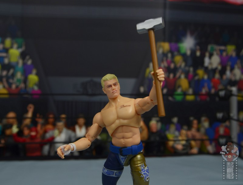 aew unrivaled cody figure review - holding sledgehammer