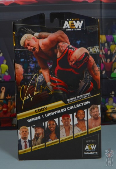 aew unrivaled cody figure review - package rear