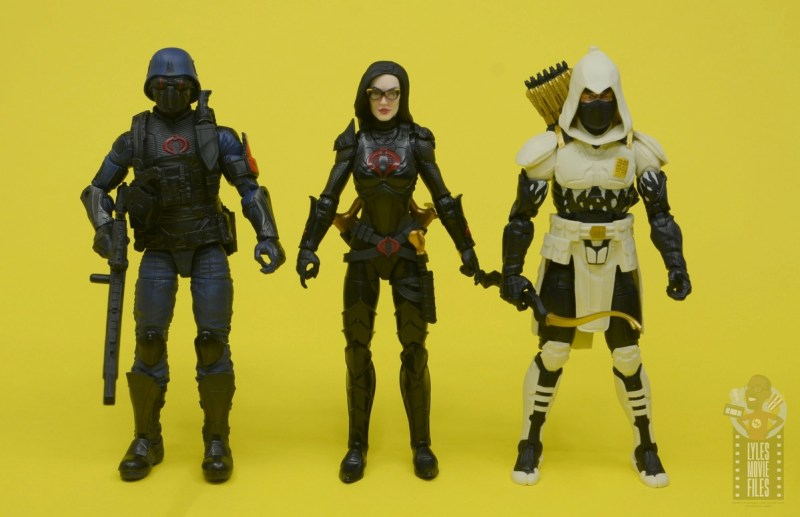 g.i. joe classified series baroness and cobra coil figure review -baroness scale with cobra trooper and storm shadow