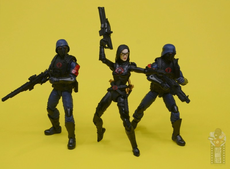 g.i. joe classified series baroness and cobra coil figure review - flanked by cobra troopers