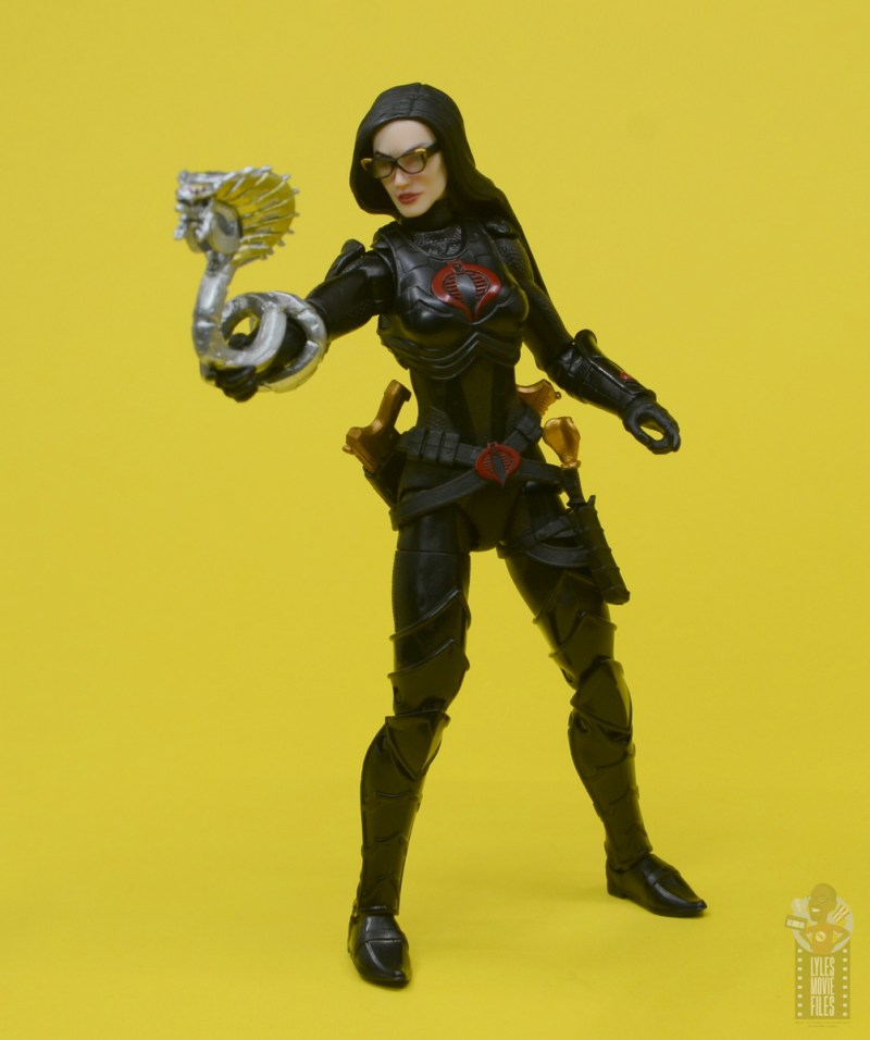 g.i. joe classified series baroness and cobra coil figure review - holding mechanical snake