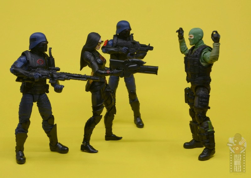 g.i. joe classified series baroness and cobra coil figure review - with cobra troops surrounding beach head