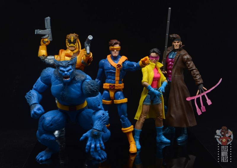 marvel legends maverick figure review -helping beast, cyclops, jubilee and gambit