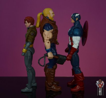 marvel legends thunderstrike figure review - facing black widow and captain america