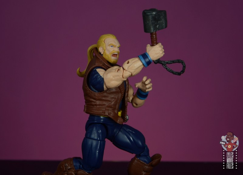 marvel legends thunderstrike figure review - raising mace