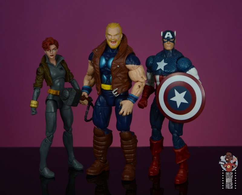 marvel legends thunderstrike figure review - scale with black widow and captain america